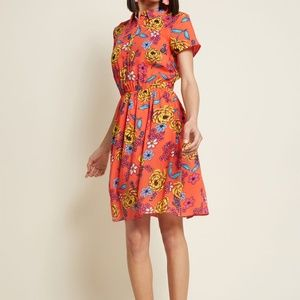 Modcloth Joyfully Committed Floral Shirt Dress S